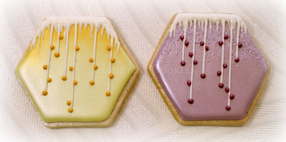 Stylised icicle cookies for Frozen themed cookies set, by Honeycat Cookies