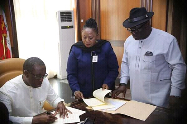 Okowa Signs Bill Prohibiting extortion on Land