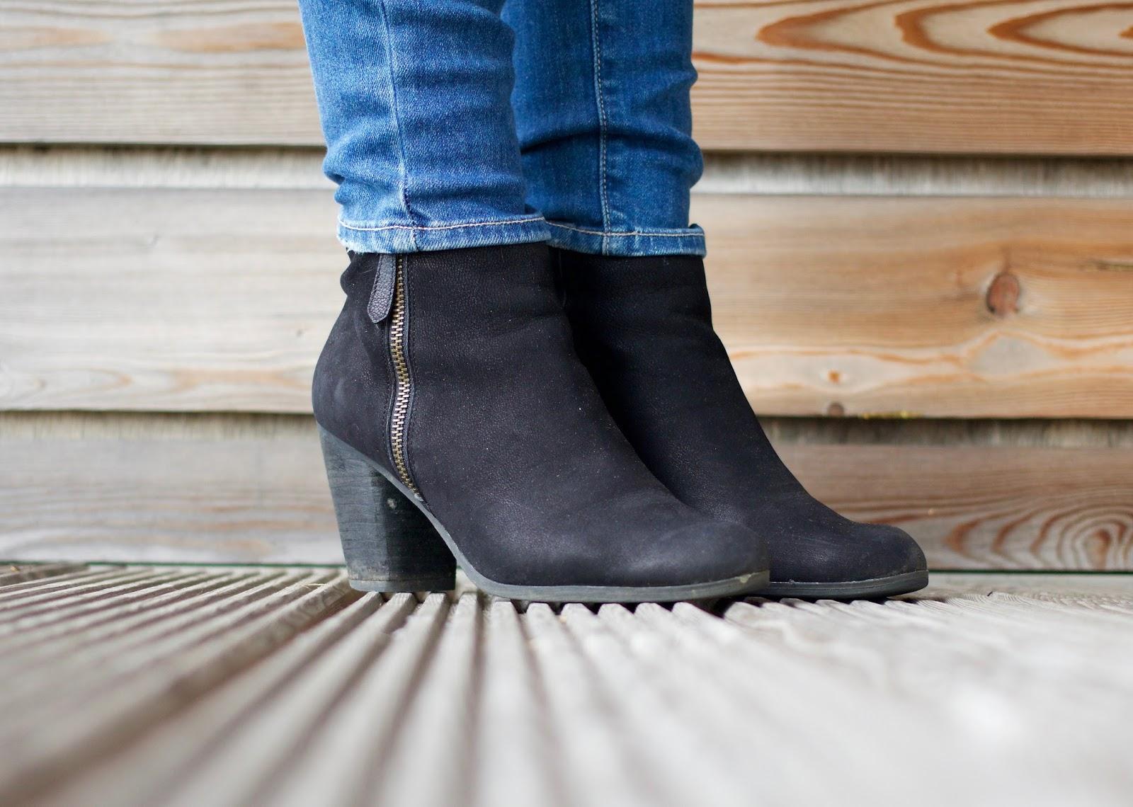 Autumnal wardrobe-BP black nubuck side zip heeled ankle boots