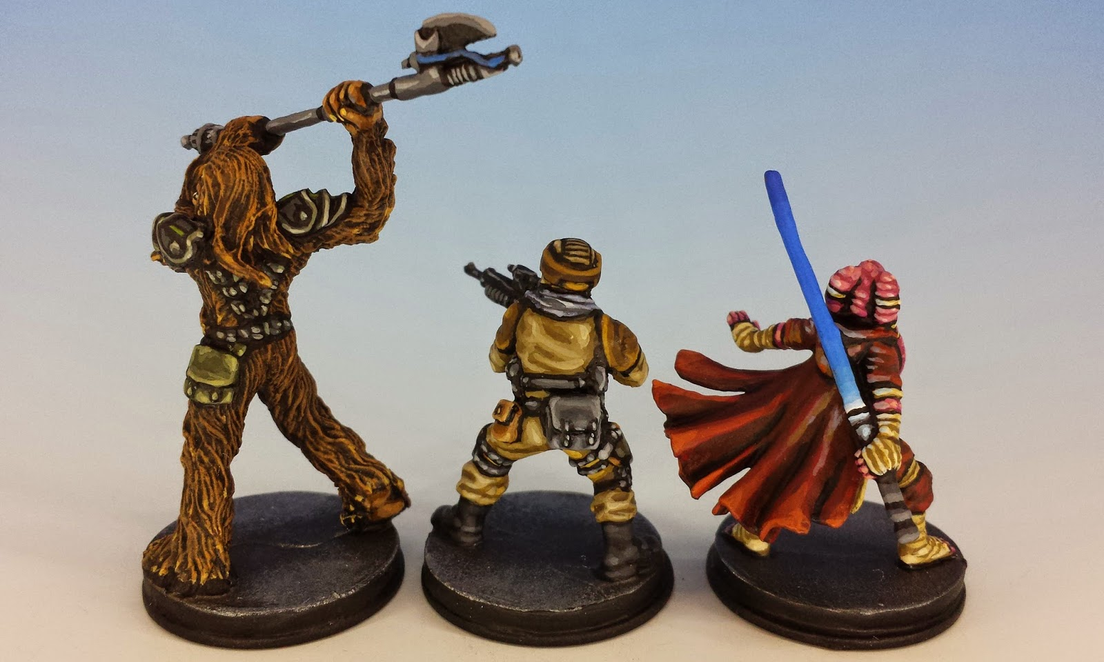 Gaarkhan, Fenn and Diala, Fantasy Flight Games (2014, sculpted by Benjamin Maillet, painted by M. Sullivan)