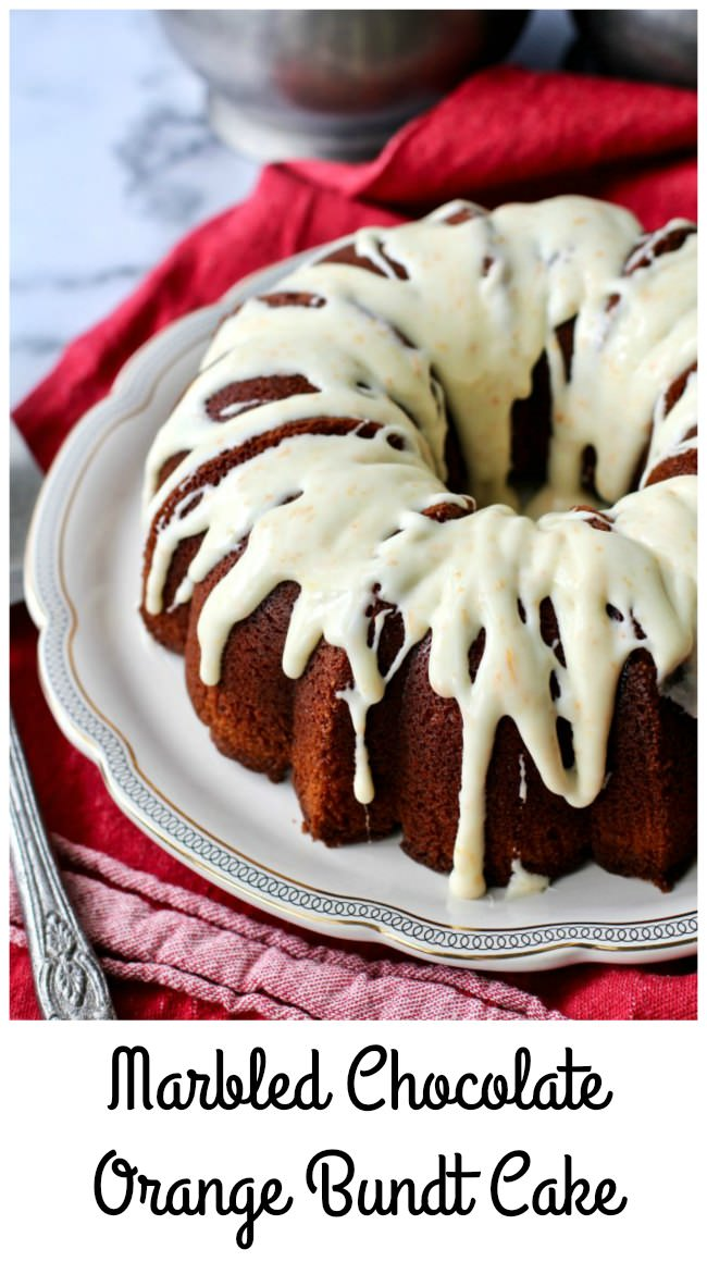 Marbled Chocolate Orange Bundt Cake with an orange glaze
