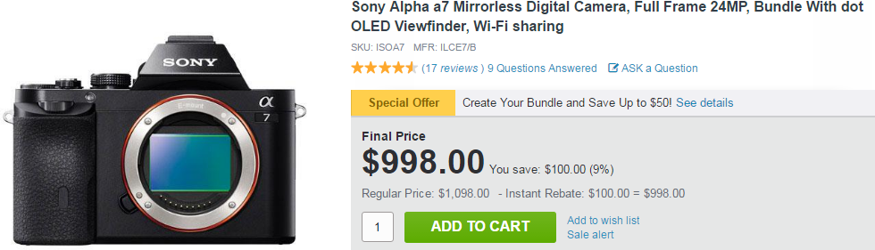 Sony A7 за $998