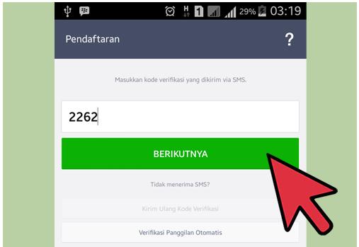 masukkan kode verifikasi yang dikirim melalui SMS
