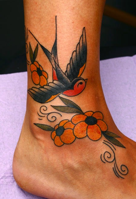 Swallow Tattoo for women on foot