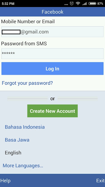 Facebook lite password sent to SMS