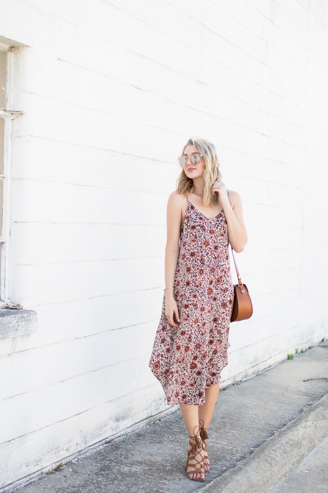 Floral Midi Dress Outdoor Wedding Outfit