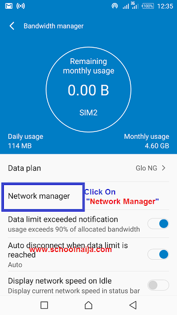 infinix note 3 network manager
