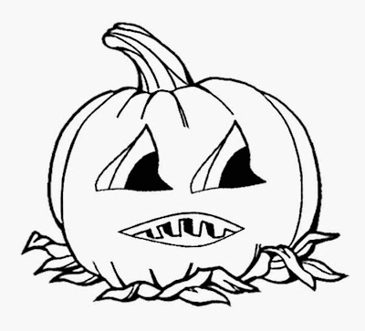 Free Childrens coloring book cartoon cute pumpkin Halloween printable jack o lantern face drawing