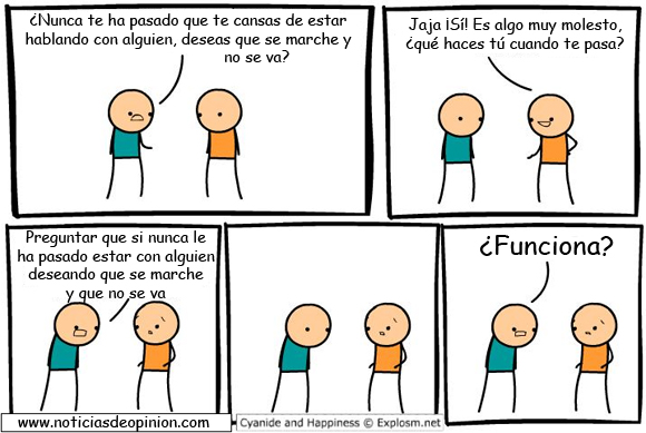 Viñeta de Cyanide and happiness: espantando a un pesado