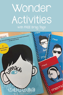 Ideas for implementing the book Wonder by R. J. Palacio in your classroom plus free brag tags
