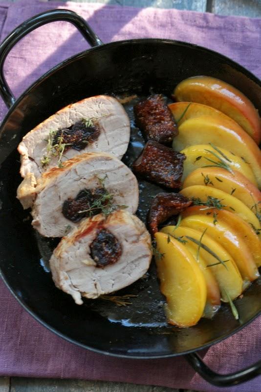 filet mignon porc , pommes , figues , plat du dimanche d'automne