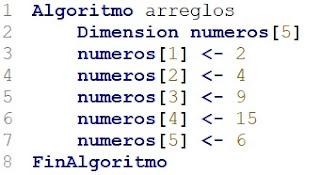 Llenar arreglo en pseint algoritmos