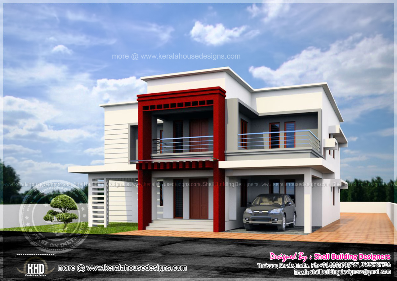 Luxury flat roof house design kerala home design and for Flat roof bungalow designs