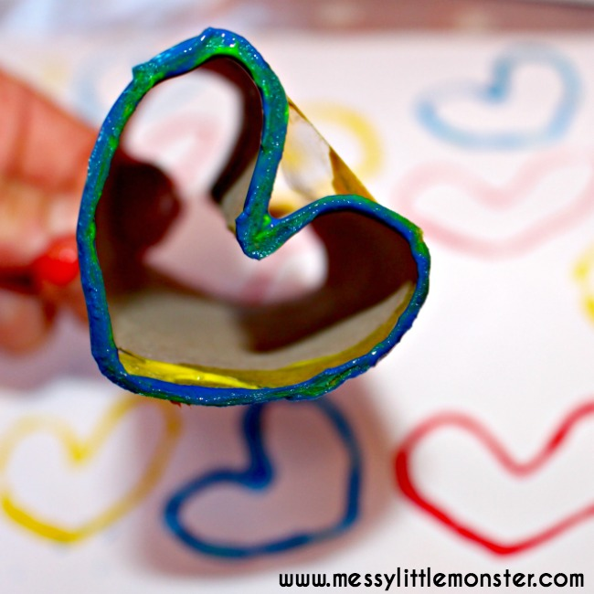 cardboard tube heart stamp . shape painting for toddlers.
