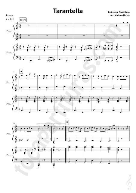 Tarantella Napolitana Partitura de Piano a 4 Manos Tradicional para Profesores y Estudiantes Pianistas Piano Sheet Music Four Hands Teacher - Student
