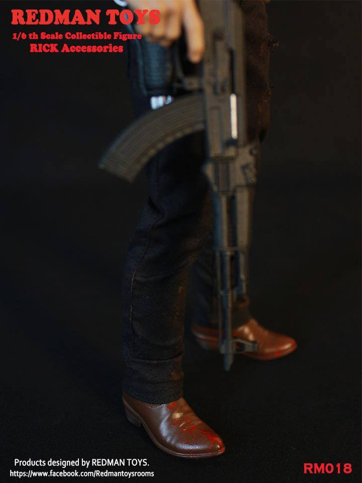 1//6 Scale Toy The Walking Dead Sheriff Rick Grimes Black Denim Jeans