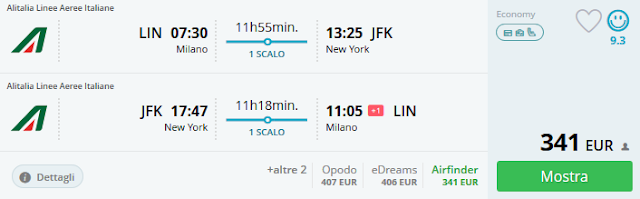 Milano (LIN) - New York (JFK) a/r a 341 €