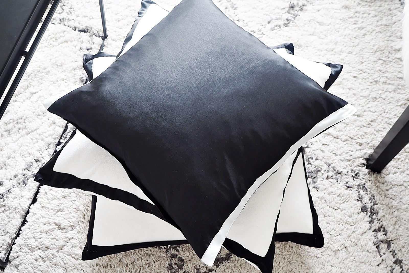 DIY-vinkki: Satiininauhaa vanhoihin tyynynpäällisiin