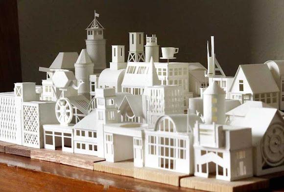 Artista cria incrível cidade em miniatura toda feita de papel