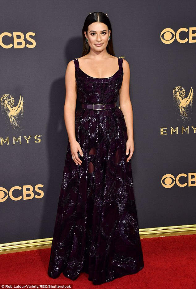 Lea Michele is gorgeous in sequinned purple gown at the 2017 Emmy Awards