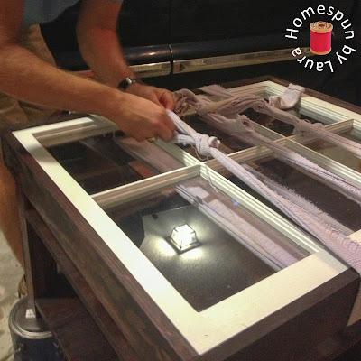 DIY repurposed window coffee table construction process