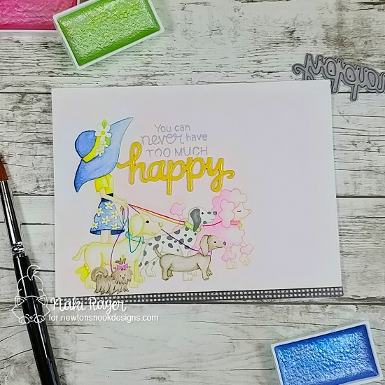 Happy Dog Walker Card by Naki Rager | Walking Woofs Stamp Set by Newton's Nook Designs #newtonsnook #handmade