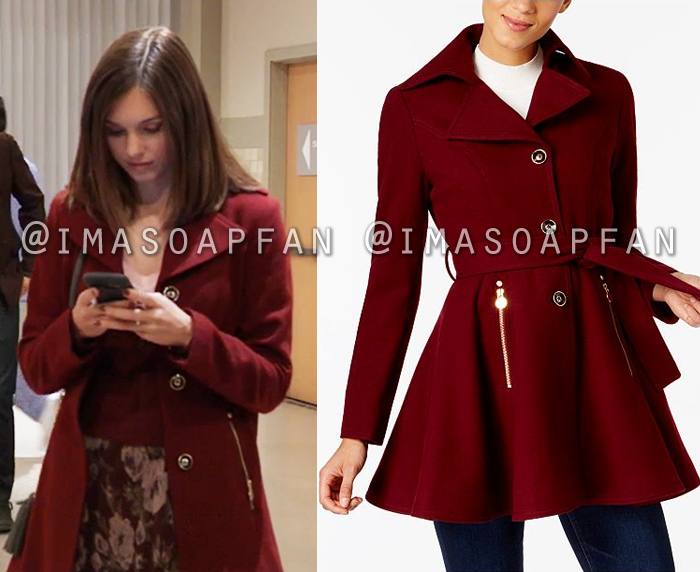 Willow Tait, Katelyn MacMullen, Dark Red Skirted Coat, General Hospital, GH