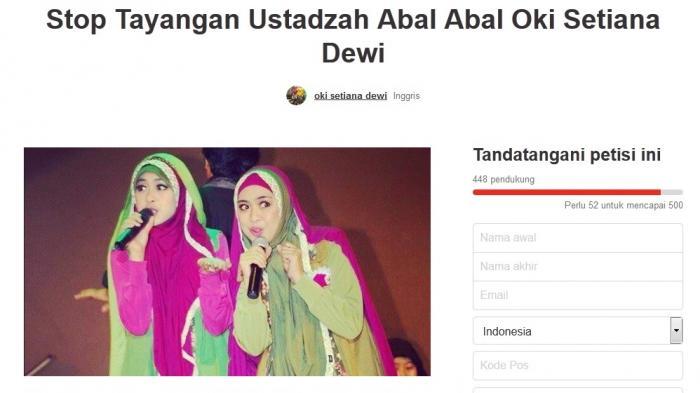 Petisi Penolakan Oki Setiana Dewi Menjadi Ustadzah Abal-Abal