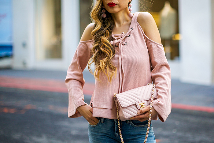 JOA cut out shoulder top, cut out shoulder top, blush lace up top, pink drop earrings, quay sunglasses, chanel classic rectangular mini bag, ripped jeans, marc fisher wedge sandals, san francisco street style, san francisco fashion blog, spring outfit ideas, spring fashion