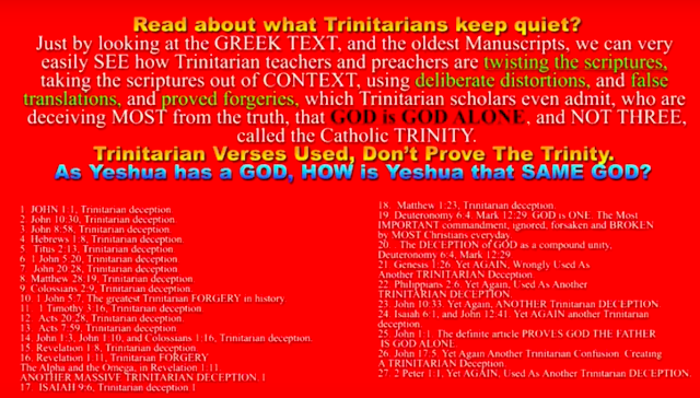 Read about what Trinitarians keep quiet?* Just by looking at the *GREEK TEXT,* and the oldest Manuscripts, we can very easily SEE how Trinitarian teachers and preachers are twisting the scriptures, taking the scriptures out of CONTEXT, using deliberate distortions, and false translations, and proved forgeries, which Trinitarian scholars even admit, who are deceiving MOST from the truth, that GOD is GOD ALONE, and NOT THREE, called the Catholic TRINITY.