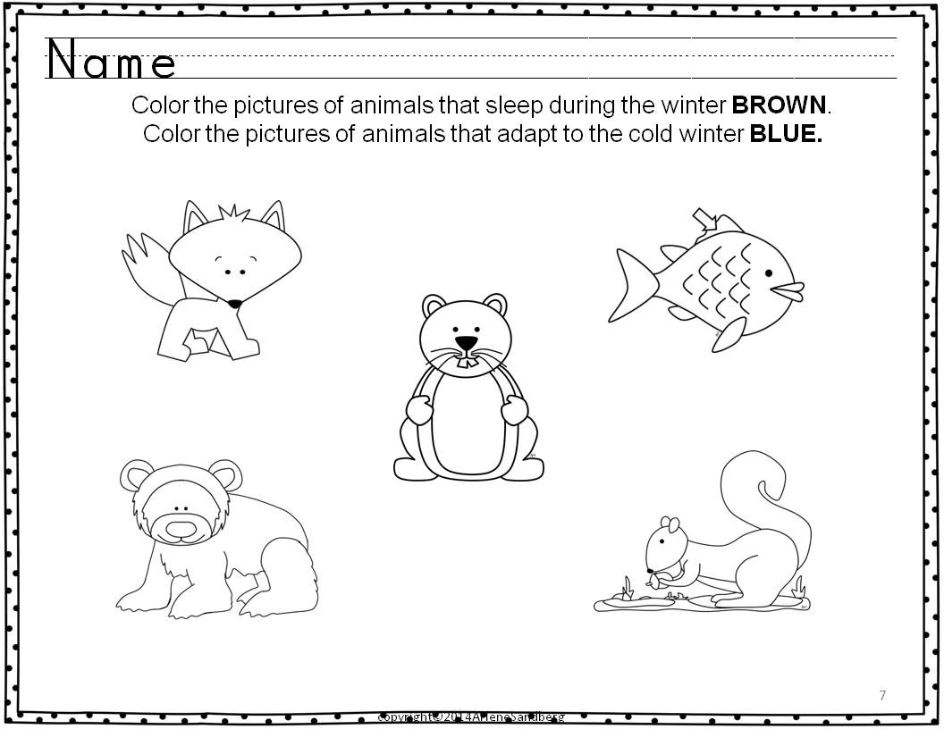 Classroom Freebies Animals In Winter Activity Packet