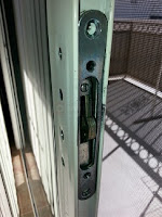 Sliding glass door lock with key and mortise lock