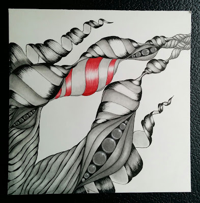 abstract red black and white ink and graphite drawing of twisty towers and seed pods