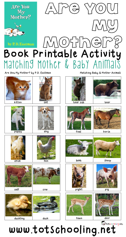 Free printable book activity for toddlers and preschoolers based on the book Are You My Mother? where the child matches 10 different baby & mother animal pairs. Great activity for Mother's Day!