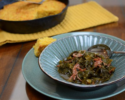Slow-Cooked Greens & Smoked Turkey ♥ KitchenParade.com, healthy leafy greens cooked until tender and luscious with a smoked turkey leg or ham hocks. Low Carb. Low Cal. High Protein. Gluten Free. Great for Meal Prep and Weight Watchers.