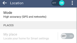 """My Place"" option turned off and grayed out in LG's location setting"