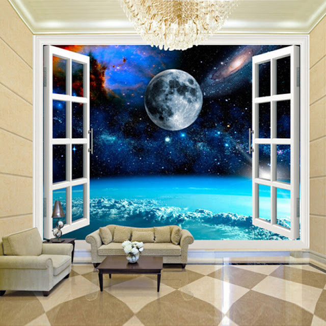Space Wall Mural Planets Photo Wallpaper 3D Window