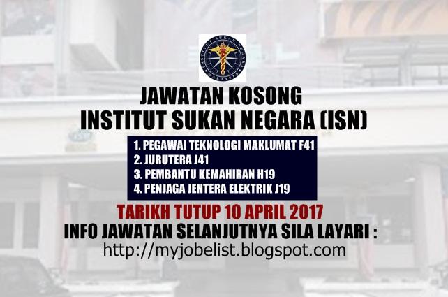 Jawatan Kosong Terkini di Institut Sukan Negara (ISN) April 2017