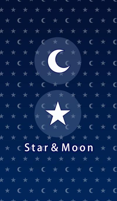 星と月 (ネイビー)