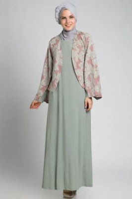 Model baju muslim motif cardigan trendy