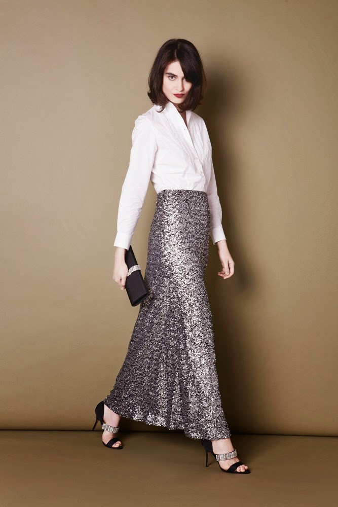 PHASE EIGHT SOMETHING SHIRT, SHIMMER MAXI SKIRT, DINA CLUTCH, DINA SHOE