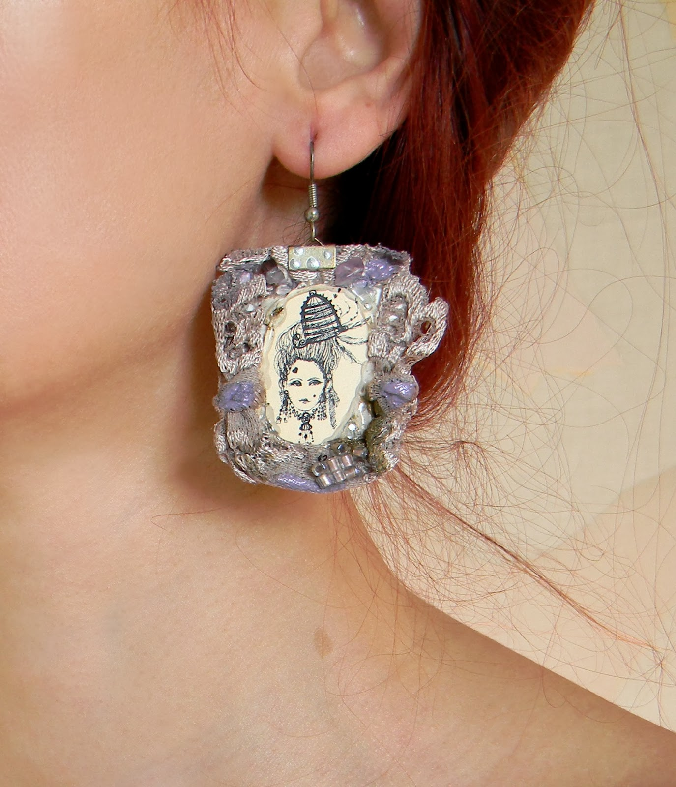 Lace Earrings Marie Antoinette Rococo Inspired in Lavander Lilac Shade