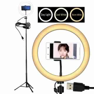 "10"" Selfie LED Ring Light with Tripod Stand &Cell Phone Holder Desktop Lamp Mini Led Camera Light for YouTube Video and Live Makeup/Photography"
