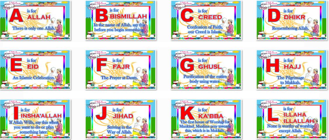 ABC Alphabet In Islam For Muslem Pupils Instructional Materials