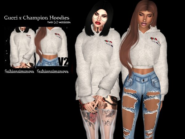 The Black Simmer Gucci X Champion Hoodies By Fashionsimsnova