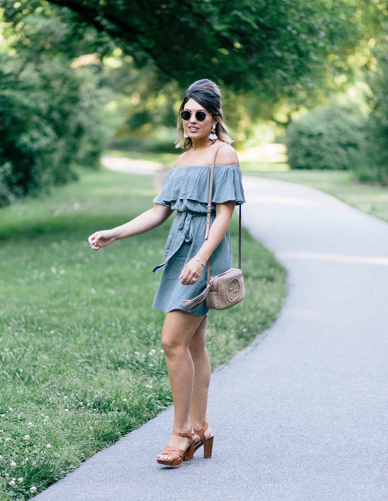 nordstrom off the shoulder dress, gucci soho disco, gucci bag, off the shoulder dress