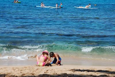 plaża, morze, jezioro, woda, rodzina, dzieci, urlop