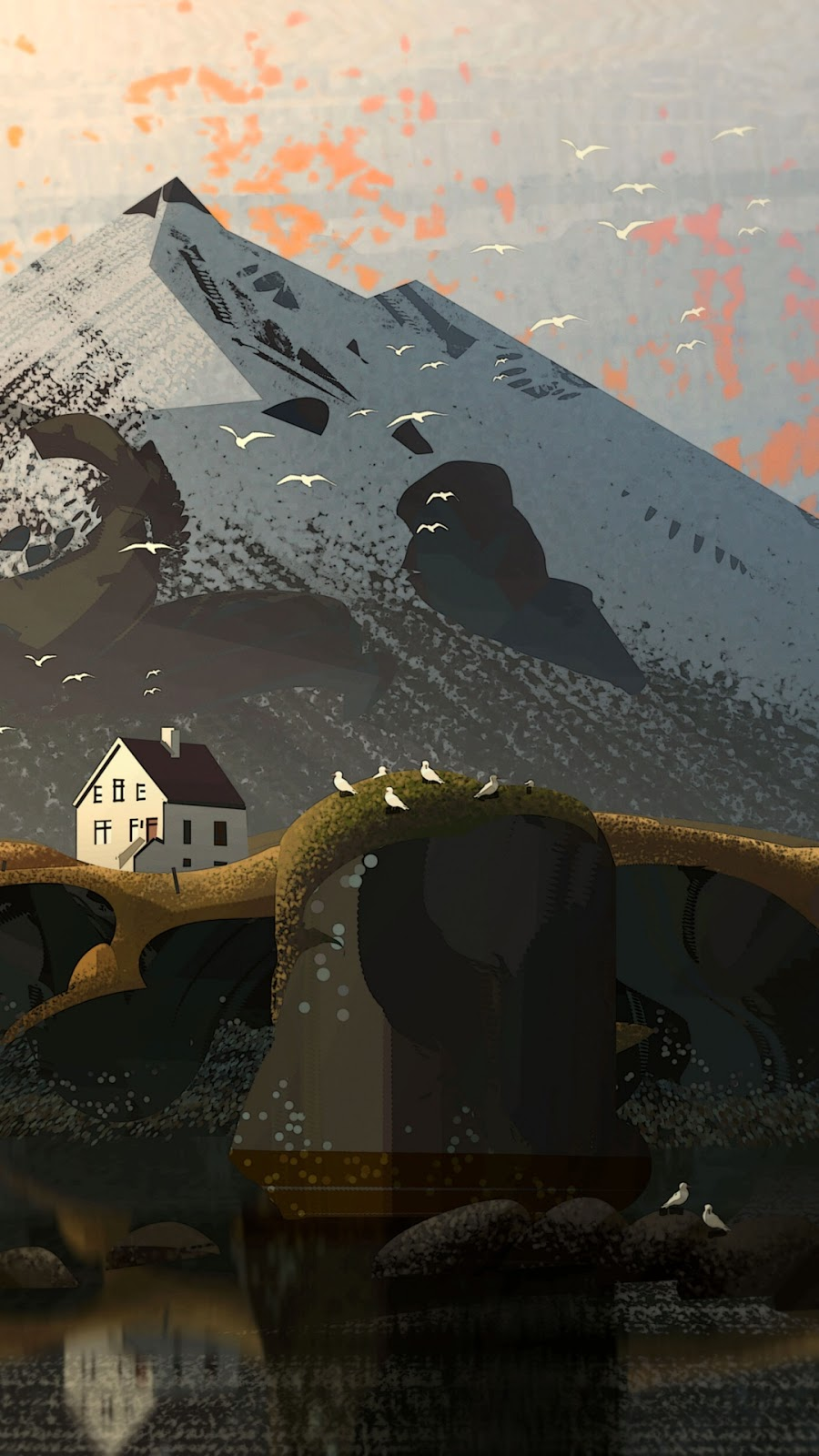 mountain house  illustration in 1080 pixels to use as phone wallpaper