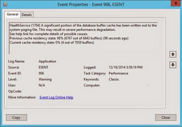 HealthService (1704) A significant portion of the database buffer cache has been written out to the system paging file. This may result in severe performance degredation. See help link for complete details of possible causes. Log Name: Application | Source: ESENT | Event ID: 906