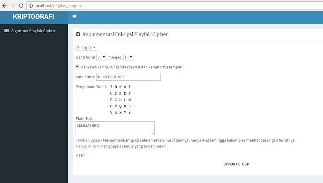 Implementasi Algoritma PlayFair Chiper untuk Enkripsi dan Deskripsi Menggunakan PHP